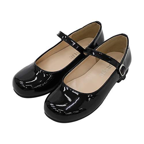 [アリサナ] フォーマルシューズ 女の子 キッズ ドレス シューズ ピアノ 発表会 子供 靴 ブラック 24.5cm