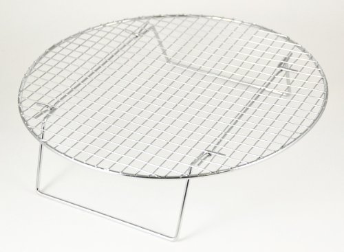 Chrome-Plated Cross-wire Cooling Rack, Wire Pan Grate, Baking Rack, Icing Rack, Round Shape, 2-Height Adjusting Legs - 14 ¾ Inch Diameter
