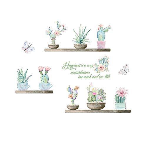Xiton Cactus Wandaufkleber Kreative Wandtattoo Wohnzimmer Kinderzimmer Removable Sukkulenten Wall Art Papier 1pc
