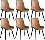 JFIA65A Moderno Juego 6 Sillones Sillas Comedor Cocina Silla Oficina Tapizada Silla Comedor Cuero Sala Estar Sillas (Color : Orange)