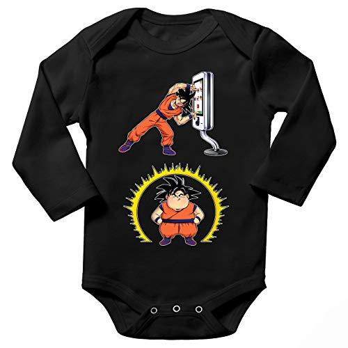 Okiwoki Body bébé Manches Longues Noir Parodie Dragon Ball Z - DBZ - Sangoku - Mac Fusion !!(Body bébé de qualité supérieure de Taille 6 Mois - imprimé en France)