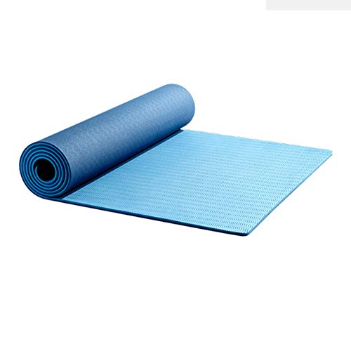 BAWAQAF Esterilla de yoga, TPE Yoga Mat,6 mm Espesor Piso Ejercicio,Gimnasia Fitness caucho Piso, Outdoor Home Yoga