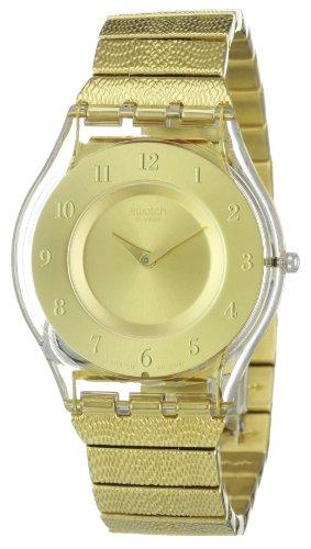 Swatch Warm Glow SFK355G - Reloj de Mujer de Cuarzo, Correa de Acero Inoxidable Color Oro