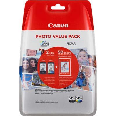 Canon PG545x L Nero & CL546x L Colore Carta Fotografica Value Pack per Pixma MG2450MG2455MG2555IP2850IP2855MG2950MG2950S MG2955MX495Stampante a Getto d' Inchiostro
