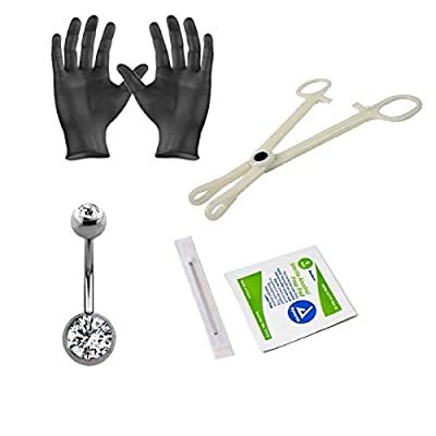 "Luxe Modz Sterilized Piercing Kit Belly Button Ring Titanium 14G with 8mm and 5mm gem Balls 7/16"" Forceps Clamps, Needles, Gloves and Jewelry"
