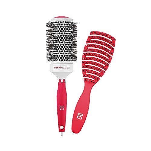 T4B ILU Set Brosses A Cheveux 1 Brosse Démêlante Et 1 Brosse Coiffante (Rouges)
