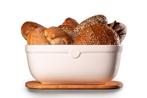 küchenspecht Brotkasten Keramik, weiße Brotbox mit Holzdeckel, Ton Brottopf 36x25x14cm, teilweise handgemacht & aus Europa