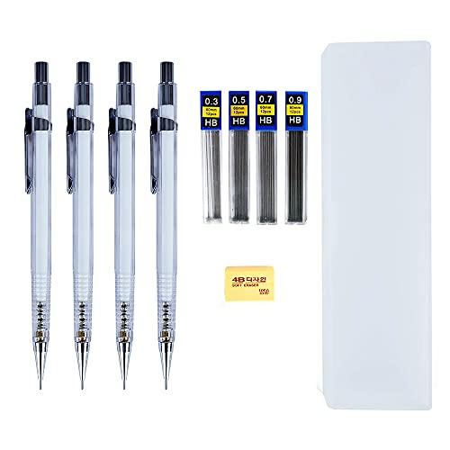 Druckbleistifte im 4er-Set, Größe: 0,3, 0,5, 0,7 und 0,9mm Zeichnen, Illustrieren, für technische Zeichnungen und Konstruktionszeichnungen, zum Schreiben und für Hausaufgaben.