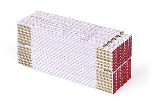 Metrie™ PROFI 15 Zollstock/Zollstöcke - Gliedermaßstab | Maßstab - 3m - Weiß - Duplex Teilung, Hergestellt in der EU - 10 stück