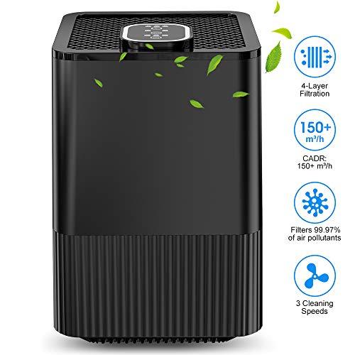 Luftreiniger mit echtem HEPA-Filter und Ionisator, 4-Lagen-Filtration und 3-Timer-Funktion, beseitigt Staub, Rauch, Hautschuppen und Pollen für Zuhause und wohnung