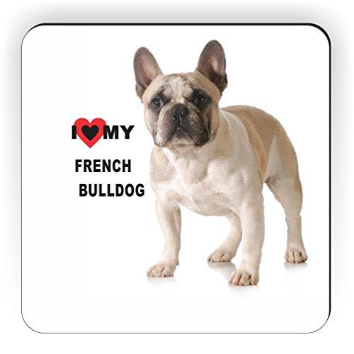 Rikki Knight I Love My French Bulldog-Light Brown and White Bulldog Design Square Fridge Magnet