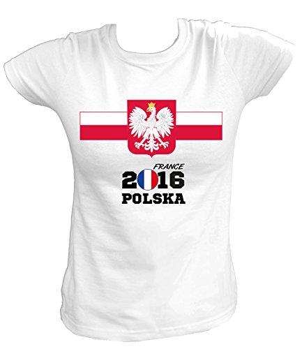 Artdiktat - EM 2016 Polska Fan T- Shirt für Damen Herren Kinder und Babys - Trikot Ersatz - inkl. Wunschname und Nummer EM 2016 Frankreich Damen Größe 3XL, weiß