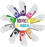 Memoria USB 16GB USB3.0 10 Unidades, JBOS 16GB Memoria Flash USB 3.0 10 Piezas, Pendrive 16GB, 16 GB, Multicolor