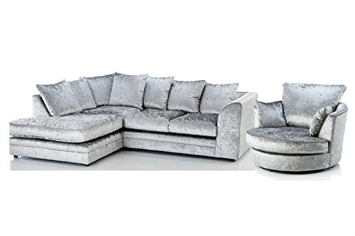 Candice Crushed Velvet 3 Seater Fabric Corner Sofa Silver Small Chaise (Left Hand Facing + Swivel Chair)
