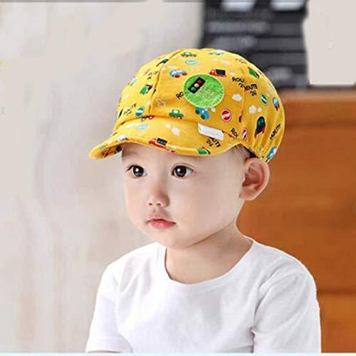 Sombrero de bebé con Letra para niños pequeños, Gorra de béisbol para bebés, Visera Ajustable de algodón, Sombrero para el Sol, Gorras con Visera para niñas, Verano y Primavera-Yellow Car