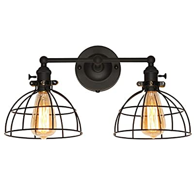 XIDING Premium Industrial Edison Antique Simplicity 2 Light Wire Cage Wall Sconces Lighting Fixtures, Upgrade Black Finish Wall Lamp, On/Off Rotary Switch on Socket
