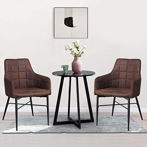 SHINAWOOD 2er Set Esszimmerstühle mit Armlehne Braun Kunstleder Stühle mit Metallbeine Retro Polster Sessel für Wohnzimmer