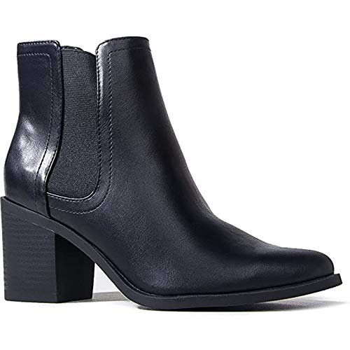 J. Adams Andi Booties for Women - Black Faux Leather Chelsea Boots - 6