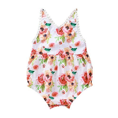 LEXUPE Neugeborene Baby Mädchen Quaste Blumen Strampler Bodysuit Sommerkleidung(Weiß,74)