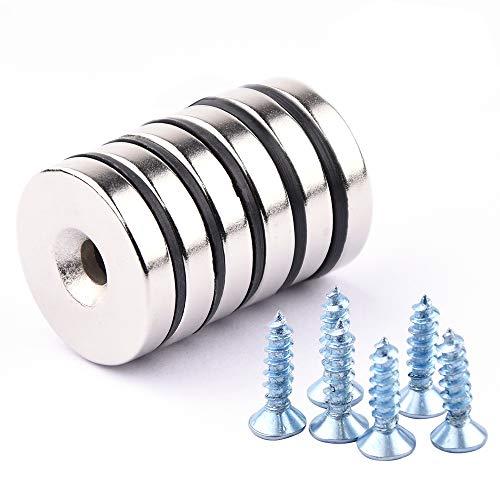Neodym Scheiben Magnete, 6 Stück Neodym Disc Senkkopf Loch Magnete,25 x 5 mm,Permanente Seltenerd Magnete
