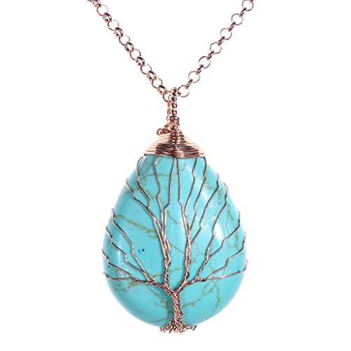 Jovivi Vintage Tree of Life Wire Wrapped Blue Turquoise Crystal Gemstone Teardrop Pendant Chakra Necklace for Women Men Jewellery