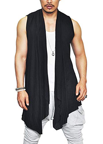 COOFANDY Men's Ruffle Shawl Collar Sleeveless Cardigan Lightweight Cotton Long Length Drape Cape Vest,Black,Large