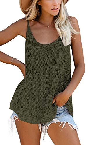 FANGJIN Soft and Comfy Knitted Sleeveless Tops Embroidered Tricolor Summer Ladies Blouses and Tops Spaghetti Straps stylish Camisole Tank Tops Grün M