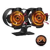 Wood Stove Fan, 8 Blade Double Motors Heat...