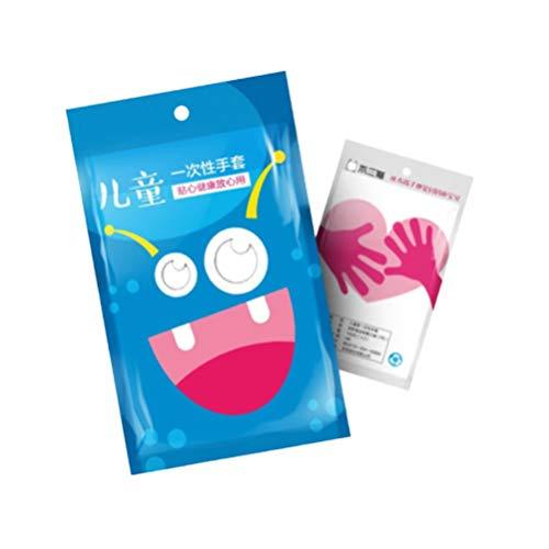 Exceart 100 Stück Einweghandschuhe Durchsichtige wasserdichte Plastikhandschuhe Mehrzweckhandschuhe für Kinder Beim Reinigen Waschen Kochen