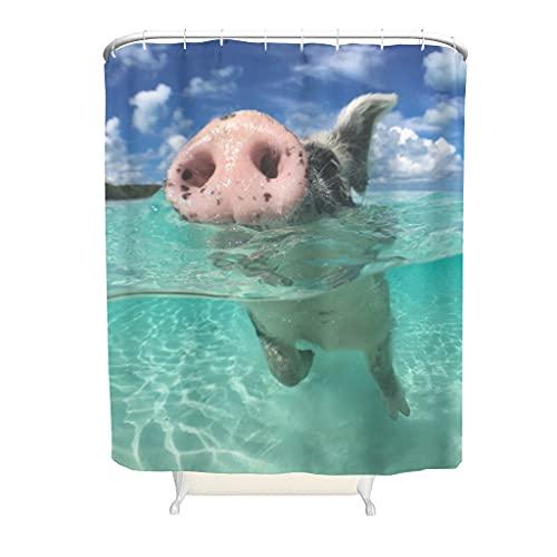 kikomia Wasserdicht Duschvorhang Lustige Schwimmen Rosa Schwein Strand Druck Duschvorhang Badezimmer Inneneinrichtung white 150x180cm