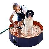 Pidsenペット用プール折りたたみポータブルバスグッズ 犬、猫用 子どもの水遊びプールにも PVC製 (M(80*80*20cm), オレンジ)