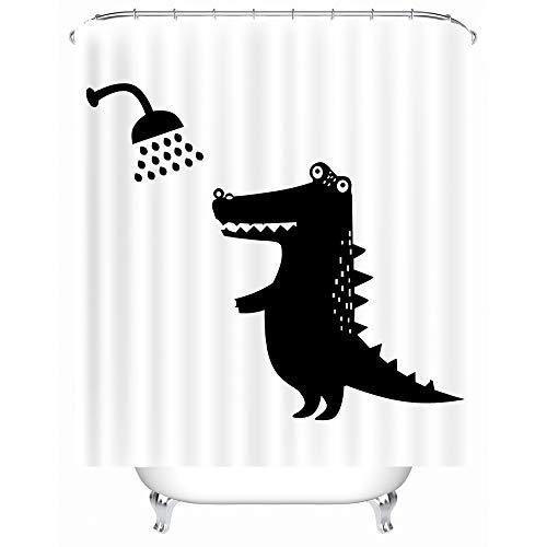 X-Labor Lustig Tier Schatten Duschvorhang 240x200cm Wasserdicht Anti-Schimmel Polyester Textil Stoff Badewannevorhang Shower Curtain Krokodil 180x200cm