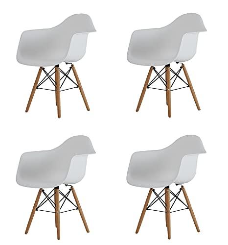 Sedia da pranzo in stile moderno, seduta in plastica e gambe in legno, poltrona retrò per sala da pranzo, cucina, camera da letto, soggiorno, ufficio (bianco, 4)
