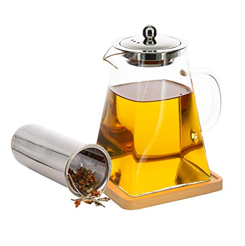 Glass Teapot with Removable Infuser,900ml(30oz) Square Tea Pot for Loose Leaf Tea,Bonus Tea pots & Infuser Coaster
