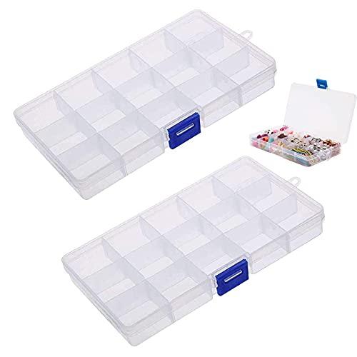 Caja organizadora de plástico, estable, ajustable, caja organizadora de joyas, caja de plástico con 15 compartimentos y tapa para guardar tornillos, perlas, pendientes, 2 unidades