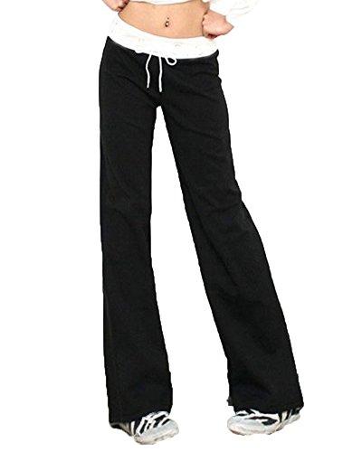 ShiFan Donna Casual Coulisse Pantaloni Yoga Pilates Jogging Sportivi Larghi Pantalone Nero L