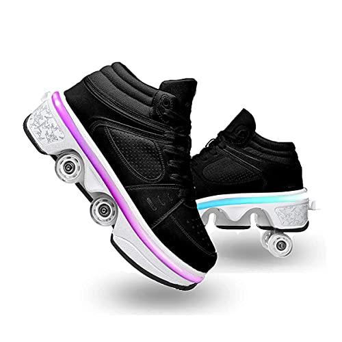XWZH Invisible De Polea De Zapatos Zapatos con Ruedas Doble Rodillo Zapatos De Skate Zapatos Zapatillas De Deporte Luz Zapatos Zapatos 2 En 1 Multiusos niños Zapatos con Ruedas 古黑色,41