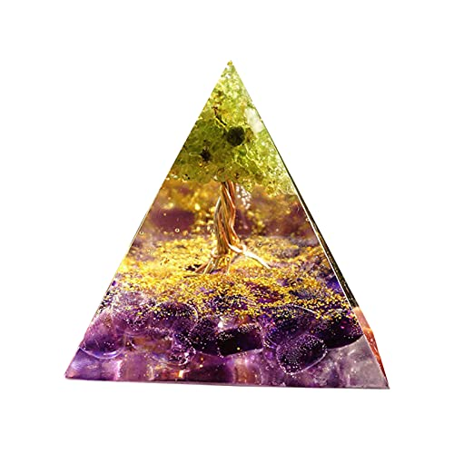 LEFUYAN Árvore da Vida Orgonita Árvore da Vida Peridoto Pirâmide Cura Cristais Feito à Mão Ornamento de Mesa para Proteção Meditação Yoga