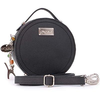 Catwalk Collection Handbags - Saffiano Cuir Véritable - Sac Besace Rond/Sac Bandoulière/Sac Porté Croisé/Messenger - Femme - TIFFANY - Noir