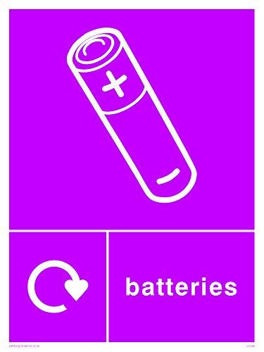 Viking Schilder ij1430-a5p-1m recycling-batteries Zeichen, 1mm Kunststoff halbstarr, 200mm H x 150mm W