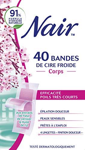 Nair - 40 Bandes de Cire Froide - Corps - Prêtes à l'emploi - Peux sensibles - Fleur de Cerisier & Huile de Riz
