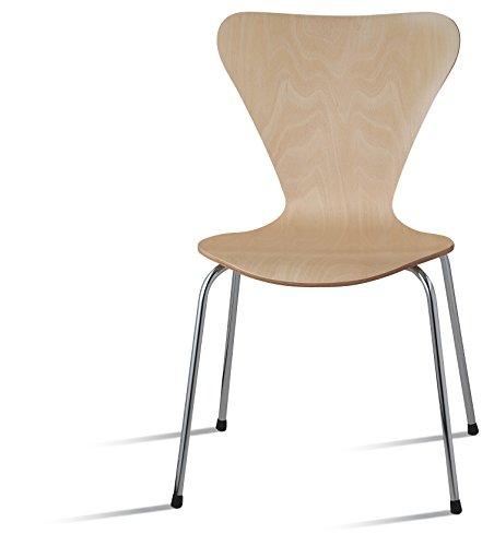 Danesa natural silla metálica, asiento madera apilable para comedor, estudio, escritorio, oficina, habitación juvenil, dormitorio,hostelería Pack de 2 sillas
