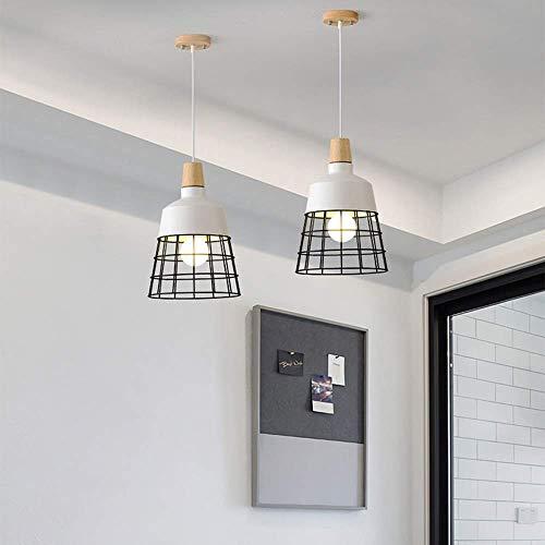 YANGQING Lámpara de leña, diámetro 26 x 31 cm, personalidad nórdica, simple lámpara colgante de comedor, luz de atenuación de tres colores