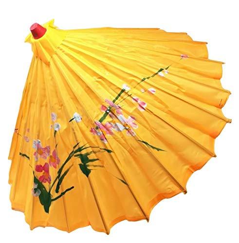R&F SRLS - Paraguas chino amarillo paraguas, para fiestas, disfraces, decoración, tela de madera