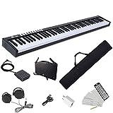 Longeye 電子ピアノ 88鍵盤 コンパクト 軽量 小型 MIDI対応 ソフトケース付き ペダル付き 10㎜ストローク バッテリ内蔵 長時間利用可能 スリムボディ 練習にピッタリ MIDI対応 譜面台 鍵盤シール 練習用イヤホン(黒)
