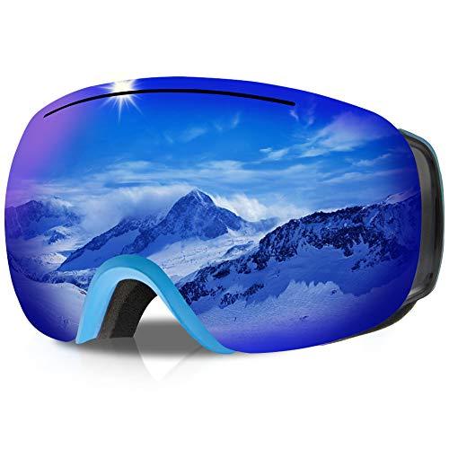 GANZTON Skibrille Ski Snowboard Brille OTG Brillenträger Schneebrille Doppel-Objektiv UV-Schutz Anti-Fog Snow Snowboardbrille mit Verstellbares Band für Damen Herren Jungen Mädchen(Blau)
