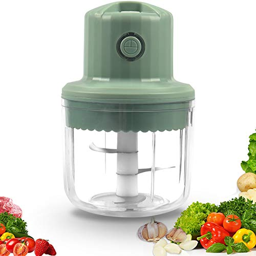 Electric Mini Garlic Chopper 250ML, Portable Mini Food Chopper with USB Charging, Powerful Small Food Processor Garlic Masher Blender For Spice Meat Vegetable Nuts Onion Pepper Baby Food (Green)
