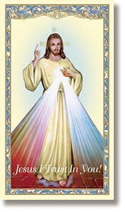 Divine Mercy of Jesus Holy Card with Divine Mercy Chaplet on The Back (10 Pack)