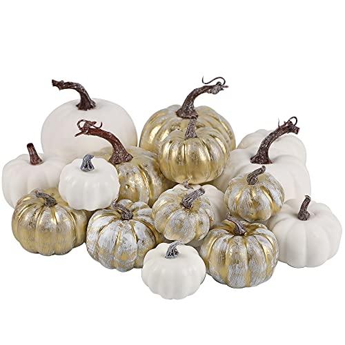 winemana Thanksgiving Artificial Pumpkins, 16 Pcs Rustic Foam Fall Autumn Decorations, White Golden Fake Pumpkins, Seasonal Tabletop Centerpieces for Home Indoor Outdoor
