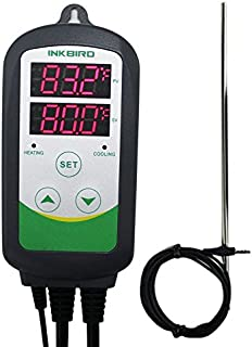 Inkbird ITC308S Freezer Thermostat Heating Cooling Plug Temperature Controller Pre Wired Digital 2-Stage Temp Control Outlet for Heater Cooler Incubator Reptile Brewing Greenhouse with Long Probe Sens